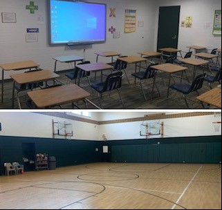 Classrooms and the gym
