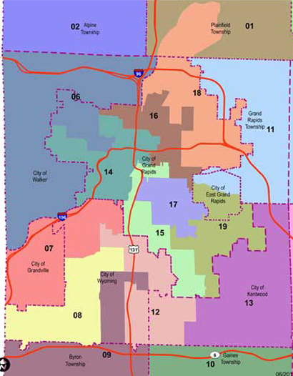 Commissioner District Map Kent County Michigan